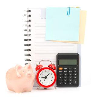 Copybook with calculator and alarm clock