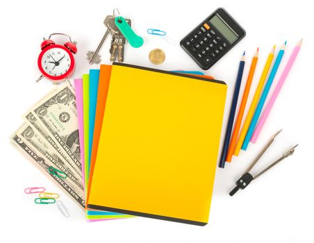 Copybooks with divider and office stuff