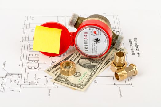 Water meter with cash and piping components