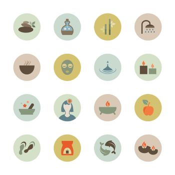 Set of flat icons on a theme spa. Vector illustration