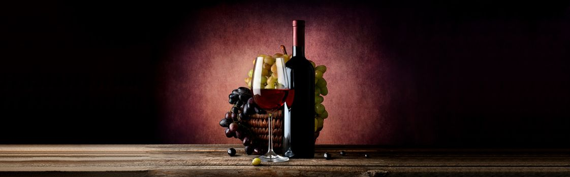 Wine with grape in basket