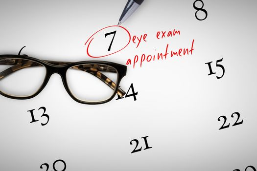 Composite image of eye exam appointment