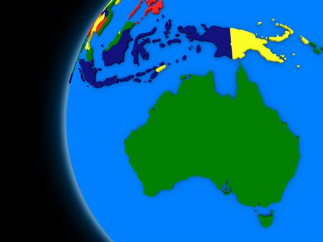 Australian continent on political Earth