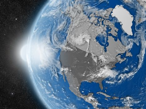 north american continent from space
