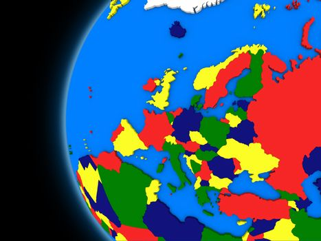 European continent on political Earth