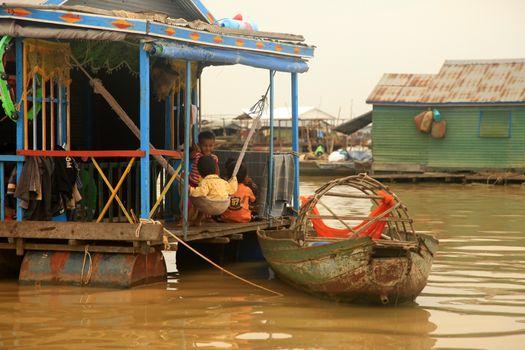 SIEM REAP, CAMBODIA - APRIL 06, 2014: Traditional village life in Kampong Phluck on Tonle Sap Lake
