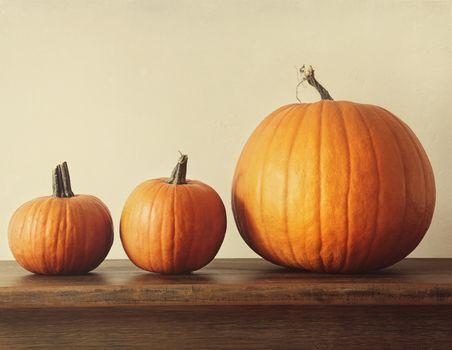 Pumpkins on a table