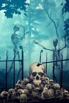 Skulls and Skeletons in creepy graveyard