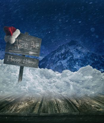Christmas holiday background with sign post and Santa hat