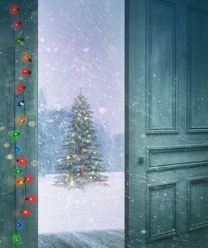 Rustic door opening outside to a snowy winter scene