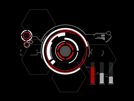 Abstract future, concept vector futuristic white virtual graphic touch user interface HUD, raster version