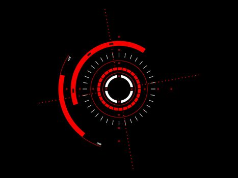 Abstract future, concept vector futuristic red virtual graphic touch user interface HUD, raster version