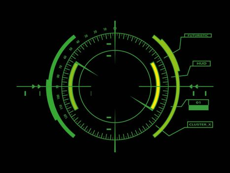 Abstract future, concept vector futuristic green virtual graphic touch user interface HUD, raster version