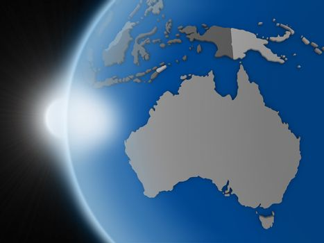 Sunset over Australian continent from space