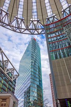 Skyscraper Deutsche Bahn Building, financial district of Berlin, Germany.