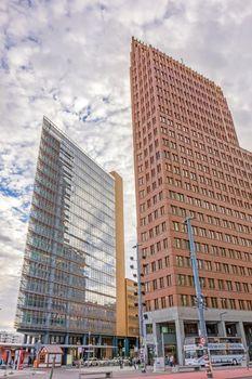 Berlin, Germany - October 28, 2013: Potsdamer Platz square - Kollhoff Tower - financial district of Berlin, Germany.