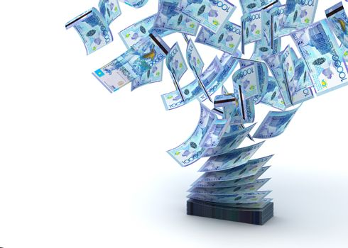 Flying Kazakh Tenge (isolated with clipping path)