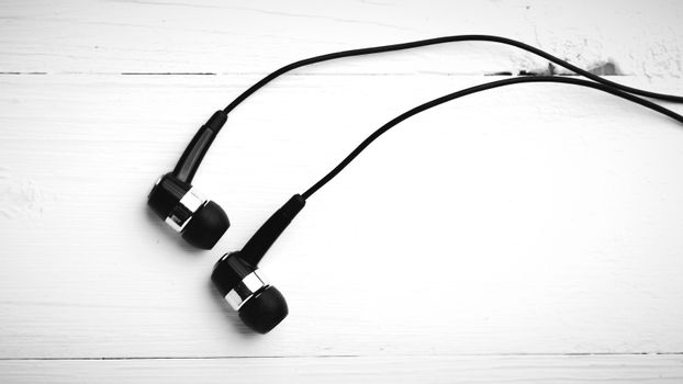 earbuds black and white color tone style