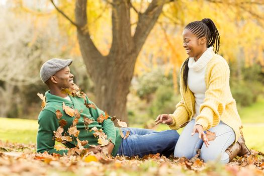 View of a young smiling couple in leaves on an autumns day
