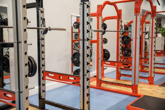 Shot of weights and barbells