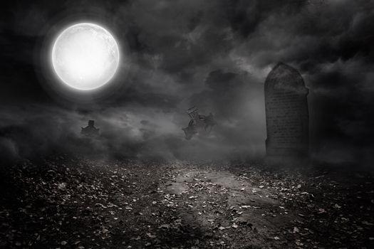 Graveyard under the full moon