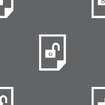 file unlocked icon sign. Seamless pattern on a gray background. Vector