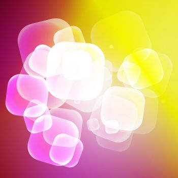 Abstract vector sunny colorful squared bubbles background