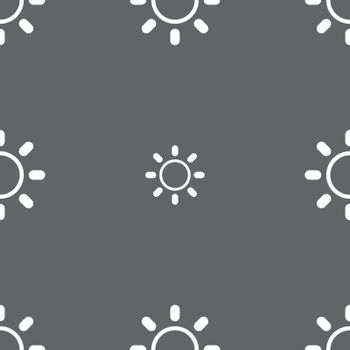 Brightness icon sign. Seamless pattern on a gray background. Vector