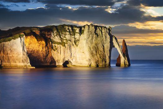 Etretat cliff in normandy