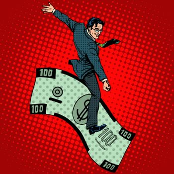 Financial Rodeo businessman riding a dollar pop art retro style. Business concept the rich man and success