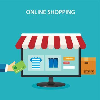 online shopping concept flat design