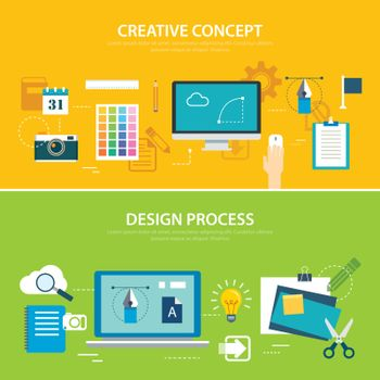 design process and creative concept banner flat design