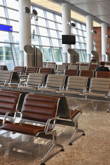 Moscow, Russia - September 16, 2010: The waiting room at Moscow's Sheremetyevo airport