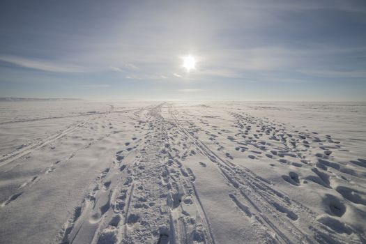 The winter landscape with a very beautiful sky