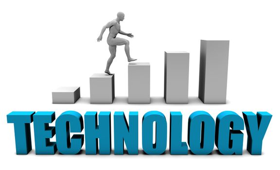 Technology 3D Concept  in Blue with Bar Chart Graph