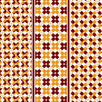 Autumn Motive Seamless Vector Pattern of Abstract Leaves in Fall Colors with Pattern Swatches Included