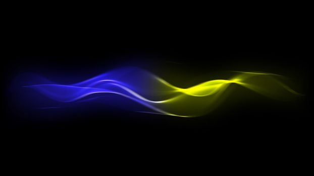 Abstract Blue and Yellow Energy Lines on Dark Background
