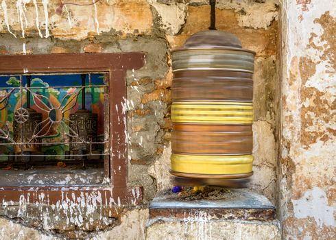 Spinning prayer wheel