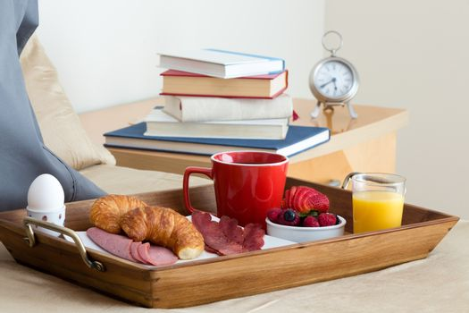 Breakfast in Bed Tray on Bed Next to Bedside Table