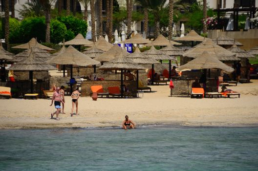 nice vacation on the sandy beach and sea in egypt