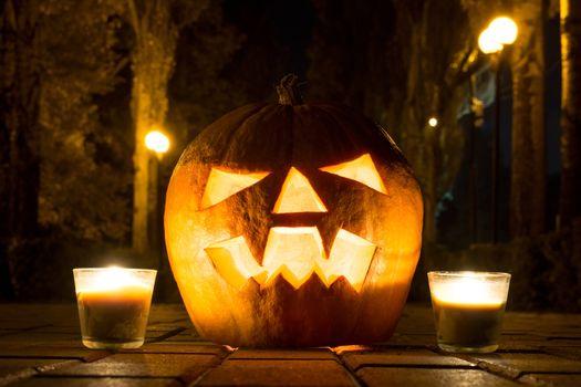 The photograph shows a pumpkin on Halloween