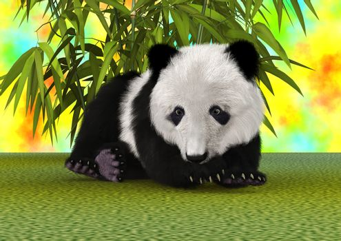 3D digital render of a cute panda bear cub ion a green bamboo and colourful sky background