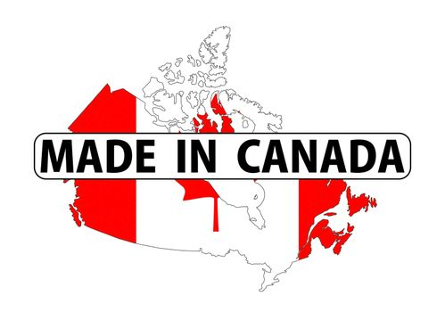 made in canada country national flag map shape with text