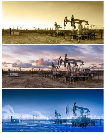 Oil and gas industry. Three panoramas of a pump jacks and oil refinery.