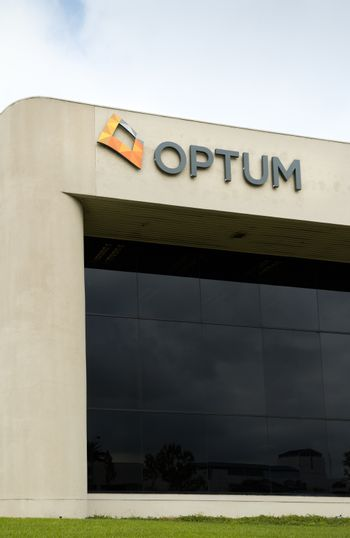 COSTA MESA, CA/USA - OCTOBER 17, 2015: Optum corporation headquarters and logo. Optum is a division of United Healthcare, Inc.