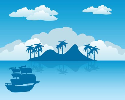 Sailing ship beside coast of the tropical island