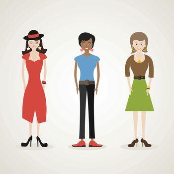 Female cartoon characters. Vector illustration