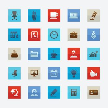 Set of icons on a theme office. Vector illustration