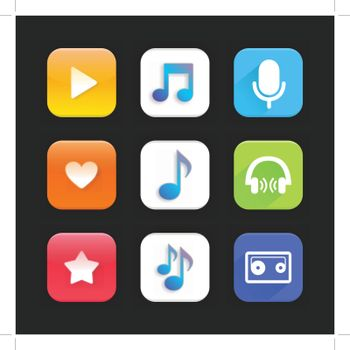 Set of icons on a theme music. Vector illustration