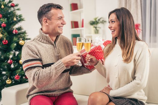 Romantic young couple toasting with champagne home interiors at christmas time.